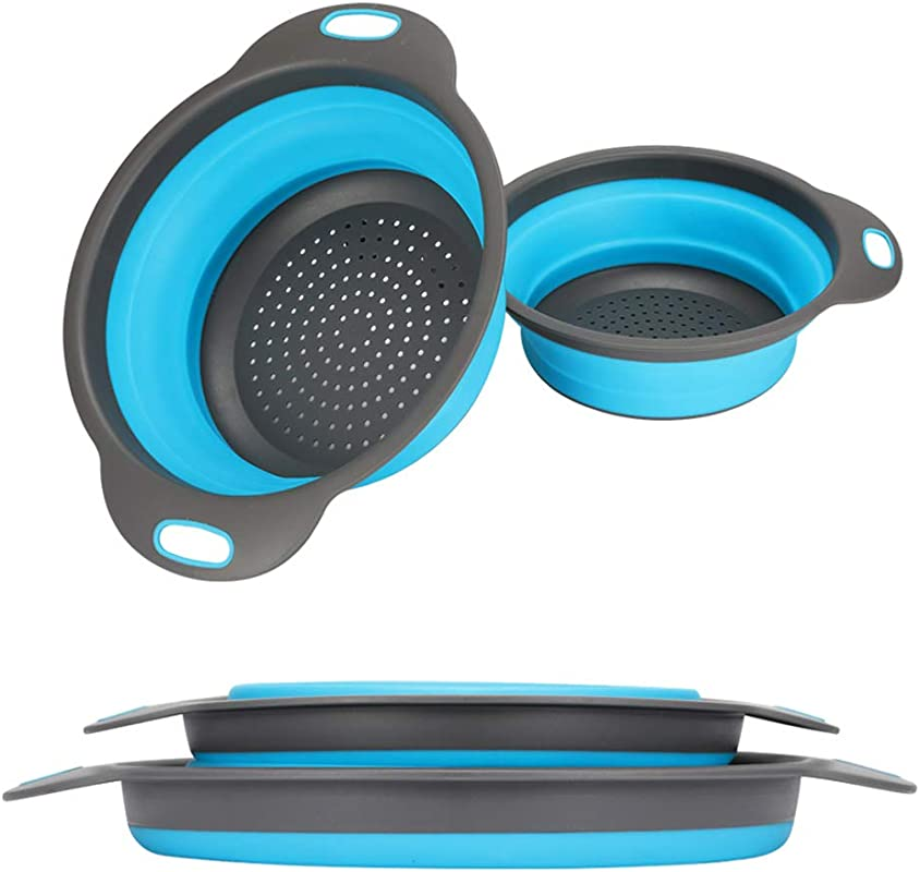 Collapsible Colander 2 Collapsible Set Learja Food Grade Silicone Kitchen Strainer Space Saver Folding Strainer Colander Sizes 8 Inches 2 Quart And 9 5 Inches 3 Quart Blue