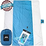 WELLAX Outdoor Camping Blanket - Huge 9' x 10' for 7 Adults - Best Mat for Picnic, Camping, Hiking and Music Festivals (White with Blue)