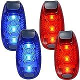 Luz de Bicicletas, 2 Pares de luz de Seguridad LED para los Corredores Bicicletas Barcos Clip de Alta Visibilidad de luz para Correr Caminar Correr (Azul + Rojo)