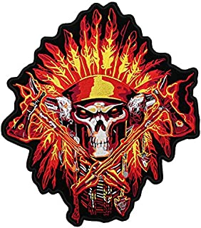 OYSTERBOY Large Rider Embroidered Patch - Indian Chief Native American Warrior Skull Biker Vest Jacket Iron-on Back Patch