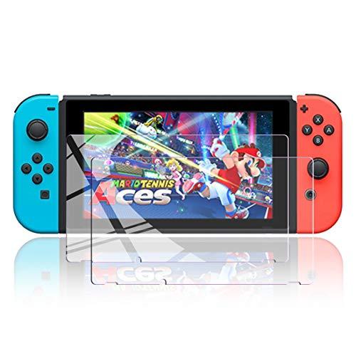 Nintendo Switch ガラスフィルム 強化ガラス 保護フィルム 【ブルーライトカット】 日本製「旭硝子」素材制 指紋防止・目の疲れ軽減・最强硬度9H・耐スクラッチ・飛散防止・高透過率・気泡ゼロ・貼り付け簡単・2枚入り
