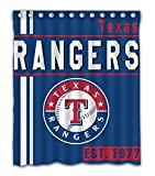 Texas Baseball Team Emblem Waterproof Shower Curtain Blue Design Polyester for Bathroom Decoration 60 x 72 Inches with 12-Pack Plastic Hooks