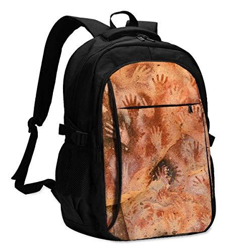 XCNGG Mochila USB con múltiples bolsillos, mochila informal, mochila escolar Laptop Backpacks Tactical Aboriginal Paintings, Cave Hands, Patagonia, Argentina. Office & School Supplies with USB Data Ca