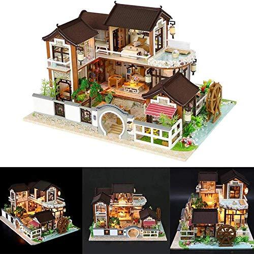 FEEE-ZC Casa de muñecas en Miniatura con Muebles, Kit de casa de muñecas de Bricolaje más Movimiento Musical, Idea Creativa de habitación a Escala 1:24 (SUEÑO EN Ciudad Antigua)