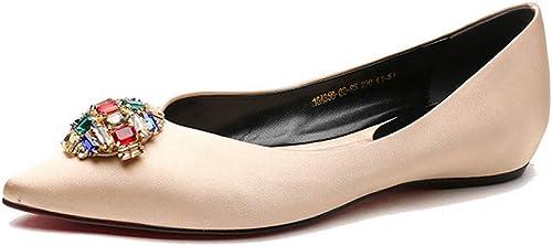 MALPYQ Chaussures de Mariage Plates en Diamant Rose Pointues pour Femmes, Plates avec des Souliers Simples en Strass en Satin Souple, de la Bouche Peu Profonde, Femme