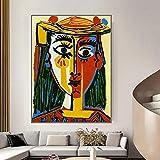 Lnxd Puzzle de Madera para Adultos de 1000 Piezas, Rompecabezas para niños, desafío Educativo, Juego Divertido para el hogar, Mujer Picasso con Sombrero, Pintura al óleo