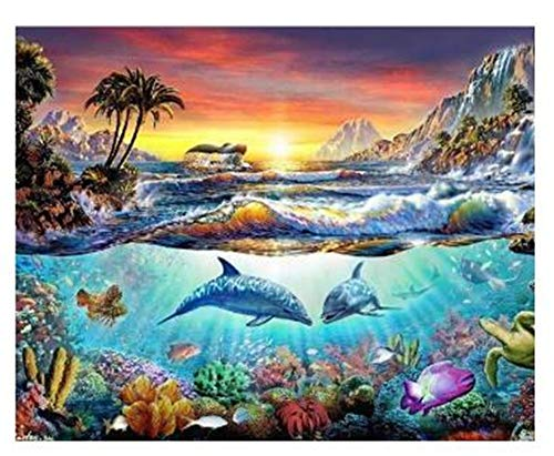 DIY 5D Diamond Painting by Number Kits Dolphin Round Drill,50x40cm Adults and Kids Full Drill Crystal Resin Rhinestone Embroidery Cross Stitch Pictures Arts Craft Canvas for Home Wall Decor Y4550