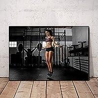 セクシー女性ポスターワークアウトポスターホームジム装飾動機付け壁アートパネルフィットネスポスターインスピレーションポスタージム壁ポスターキャンバスアートパネル50x70cm /フレームなしU144