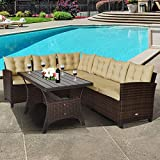 Tangkula Patio Furniture Set, 3 Pieces Outdoor Conversation Set with 6 Cushioned Seat & Coffee Table, Rattan Couch Set for Balcony, Garden, Lawn, Poolside and Backyard (Brown)