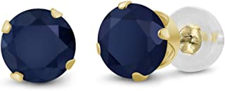 Blue Sapphire 14K Yellow Gold Stud Earrings 0.72 Ct Round Gemstone Birthstone 4MM