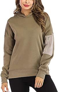 Women's Casual Hoodie Side Split Patchwork Long Sleeve Hooded Sweatershirt Pullover