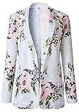 Manga Larga Collar Sin Botones Flor Flores Suit Blazer Americana Chaqueta Coat Capa Abrigo Sports Jacket Cazadora Chaqueta Chamarra Top Blanco Rosa M