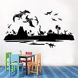 LING YUN Co,Ltd Jurassic Park World Dinosaurio Decoración De La Habitación De Los Niños Vinilo Arte Decoración del Hogar Cartel Extraíble Pegatina De Pared De Dibujos Animados 106X58Cm