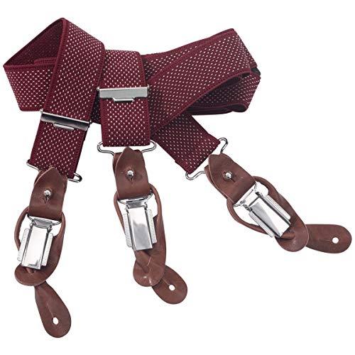 LINDENMANN Hosenträger Herren 30 mm breit mit Fliege, Y-Form mit Lederpaten, Herren-Hosenträger mit 3 Clips, Längenverstellbar, elastisch und flexibel, rot, Farbe/Color:rot, Größe/Size:120