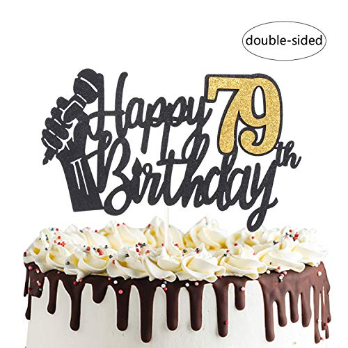 Happy 79th Birthday Cake Topper mit Mikrofon Cheers to 79 Years Old Party Dekoration zum 7. Geburtstag
