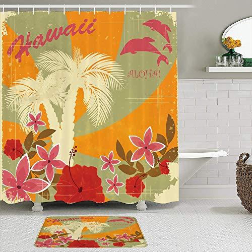 Stoff Duschvorhang und Matten Set,Hawaiian Aloha Vintage Print Bunte Wirbel Hintergrund Delfine Palmen Blumen,wasserdichte Badvorhänge mit 12 Haken,utschfeste Teppiche