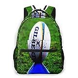 USGYY Sac à Dos Garçons Filles College Scolaire Sac Sac à Dos Ballon de rugby sur t-shirt de frappe, Imperméable Sac École Cartable Collège Sac D'école Homme
