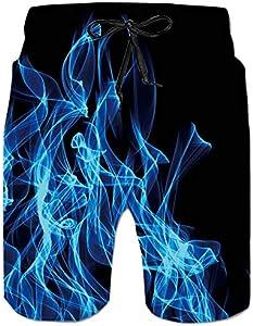 ALISISTER Bañadores de Natación Hombre Novedad 3D Fumar Azul Modelo Pantalones Corto Casual Deportes Secado Rápido Shorts L