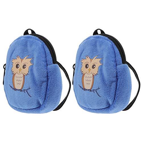 SOIMISS 2 mochilas de preescolar, diseño de búhos, para niñas, con dibujos animados, mini muñecos de peluche, con cremallera