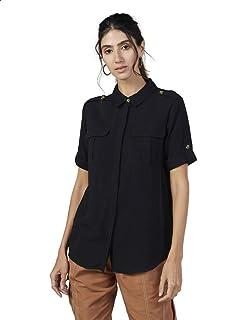 Splash Plain Front Flap Pockets Concealed Placket Short Sleeves Viscose Shirt for Women