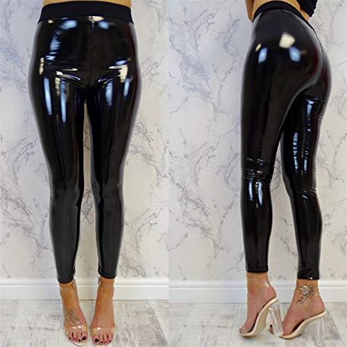 Pantalones for Mujer Atractiva Negra Delgada Suave Strethcy Brillante Mirada mojada de Cuero de imitación de Vinilo Polainas Pantalones Pantalones (Size : L Large)