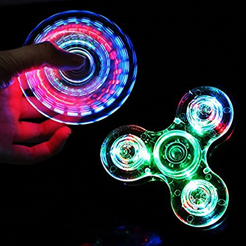 CPEI LED Fidget Spinner, Clear LED Light UP Fidget Finger Dice Anti-Stress Release Toys for Children Adults (LED Clear, Spinner)