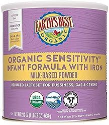 Earth's Best Organic Low Lactose Sensitivity Infant Formula with Iron, Omega-3 DHA & Omega-6 ARA, 23