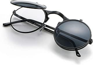 Vintage Round Flip Up Sunglasses for Men Women Juniors John Lennon Style Circle Sun Glasses