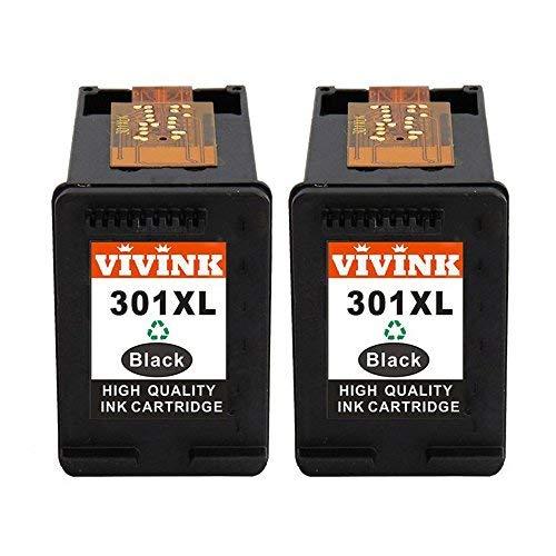Vivink - Cartucce d'inchiostro rigenerate di ricambio per HP 301 XL 301XL compatibili con stampanti HP Envy 4500 5530 4502 Deskjet 2540 1000 3050 3050a 1050 1050a 1510 Officejet 4630 2620 (2BK)