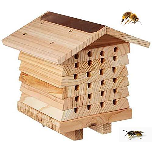 Insektenhotel Käferhaus, natürliches Holz, Marienkäfer-Box, Hotel mit Metalldach, Gartenunterstand, Bambus, Nistkasten, Habitat Buddy Insektenhotel (16 x 17 x 18 cm, 2 Stück)