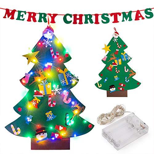 ziidoo Feltro Albero Natale,Fai da Te Albero di Natale in Feltro, 26 Pezzi Capodanno Decorazioni per Decorazioni da Appendere Decorazioni Natalizie,Merry Christmas Banner in Feltro
