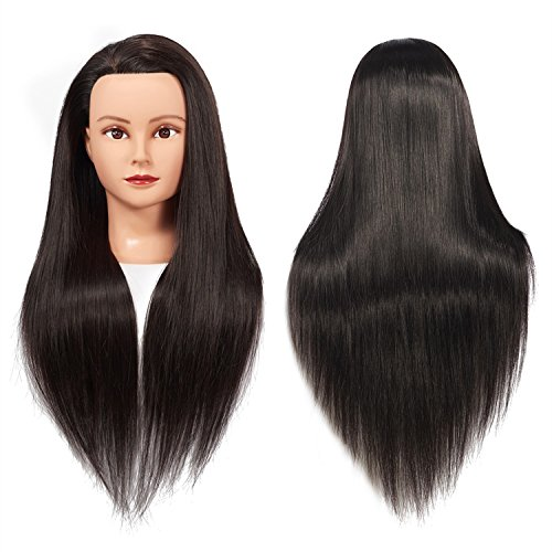 Training Head 26'-28' Female Mannequin Head Hair Styling Manikin Cosmetology Doll Head Long Hair Synthetic Fiber Hair Hairdressing Training Model Free Clamp (1711LB0220)