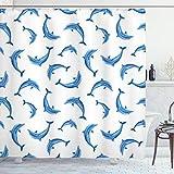 ABAKUHAUS Animales Marinos Cortina de Baño, La Vida Silvestre bajo el mar, Material Resistente al Agua Durable Estampa Digital, 175 x 200 cm, Azul Blanco