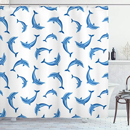 Ambesonne Dolphin Shower Curtain Set Sea Animals Decor, Dolphins Pattern Fish Nature Under The Sea Wildlife Marine Nautical Print, Bathroom Accessories, 69W X 70L inches, White Blue