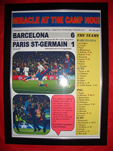Lilywhite Multimedia Barcelona 6 PSG 1-2017 Champions League - Impresión enmarcada