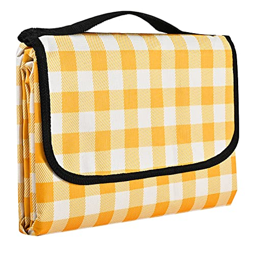Gosure Outdoor Picnic Blanket,Foldable Outdoor Beach Blanket,Waterproof,Sand proof,Machine Washable,Slip Resistant With With Carrying Handle for Family,Beach,Park,Hiking,Camping (Yellow, 200*200 CM)
