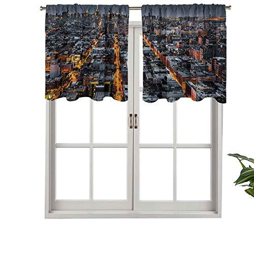 Hiiiman Cenefas de cortina opacas, cortinas cortas, con bolsillo para barra, avenidas que convergen hacia el centro de la ciudad de Nueva York, Arquitectura, juego de 2, 137 x 91 cm para cocina y baño