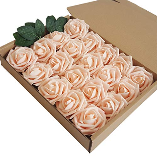 JIABAN 20 rosas artificiales, rosas de espuma, regalo de la madre, utilizadas para bodas, decoración de flores, fiestas, decoración del hogar