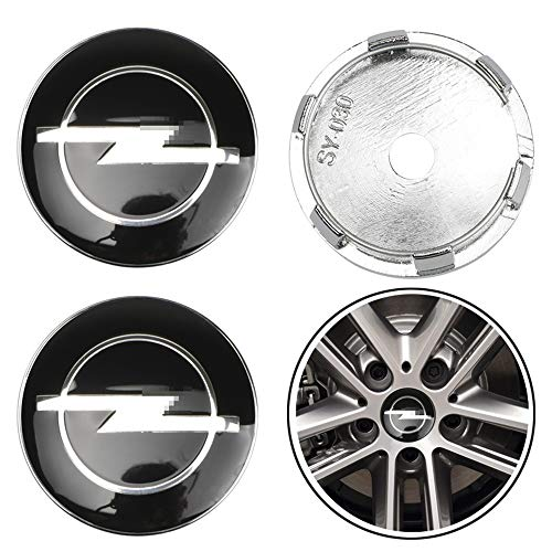 JTAccord Car Wheel Center Radkappen für Opel Astra H G J Insignia Mokka Zafira Corsa, Auto-Styling-Zubehör, Schwarz, 60 mm, 4 Stück/Satz