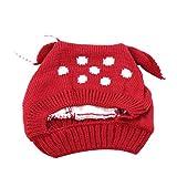 Yinew Kindermütze mit Tier-Ohren, gepunktet, Strickmütze für Kinder, modisch, warm, gestrickt