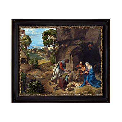 UpperPin The Adoration of The Shepherds by Giorgione, Oil Painting Print on Museum Quality Canvas, with Black Frame, Size 28'' x 24'', Framed Painting Ready to Hang on Wall