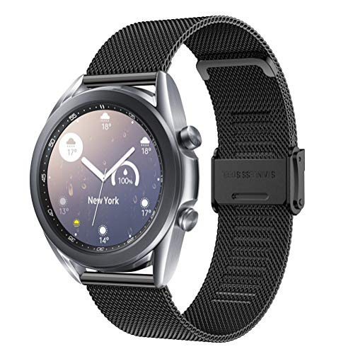 Angersi Correa Compatible con Samsung Galaxy watch3 41mm Correa de Reloj,Acero Inoxidable Sport Correa Reemplazo Pulsera para Samsung Galaxy watch3 41mm Reloj Inteligente de Fitness