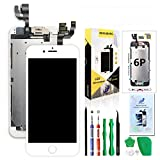 Compatible with iPhone 6 Plus Screen Replacement White 5.5'',Hkhuibang Pre-Assembled LCD Touch Digitizer Display Full Assembly with OEM Front Camera Proximity Sensor Earpiece Speaker Repair Tool