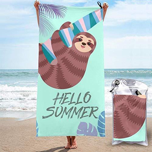 Hello Summer Cute Sloth Soft Microfiber Sand Free Pool Bath Toalla de viaje al aire libre para acampar Natación Yoga Deportes Chica Mujeres Hombres Adultos
