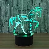 Lampada da tavolo a LED nordico, lampada da tavolo a colori 3D Lampada da comodino moda a letto Lampada da tavolo acrilico ricaricabile a 7 colori intelligente Lampada da tavolo a forma di animale