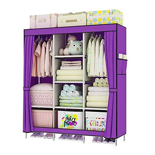 COLiJOL Armario para el Hogar Muebles de Dormitorio Portátiles Armario de Ropa Armario de Tela No Tejida Organizador de Alenamiento de Tela Plegable (Color: Morado),Púrpura