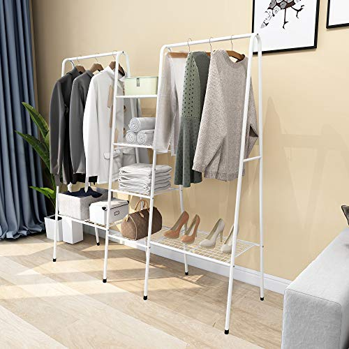 Metal Garment Rack Clothes Rack with Top Rod and Lower Storage Shelf Clothes Rack White