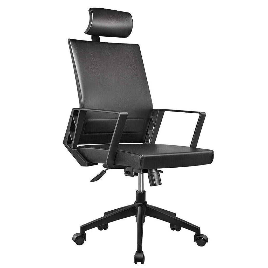 変位脅威絡み合いオフィスチェア ハイバック 肘掛 ヘッドレスト付き デスクチェア OAチェア パソコンチェア 事務椅子 座面昇降 360回転 リクライニング ロッキング 腰あてクッション PUレザーチェア ブラック K002-2