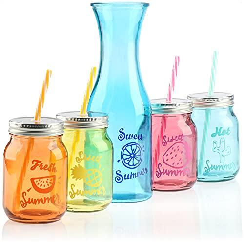 COM-FOUR® set di 13 bicchieri - caraffa in vetro e bicchieri con coperchio e cannuccia riutilizzabile - vetro con coperchio e cannuccia per l'estate, giardino, balcone (04 pezzi - 400 ml + caraffa)