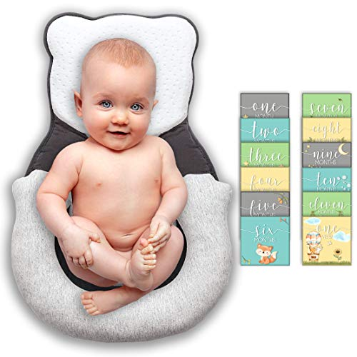 Infant Support Newborn Lounger Pillow - Portable Baby Bed - Baby Anti Roll Pillow Sleep Positioner - Head Support Bassinet Insert Newborn Sleep Pillow for Crib Baby Snuggle Mattress Prevent Flat Head